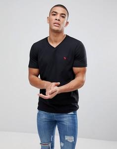 Черная узкая футболка с V-образным вырезом Abercrombie & Fitch Pop Icon - Черный