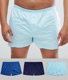 Набор из 3 пар синих тканых боксеров ASOS PLUS - Мульти