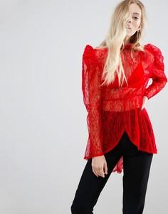 Блузка с пышными рукавами ASOS Premium - Красный
