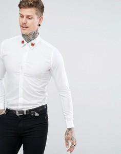 Рубашка с вышитыми розами на воротнике Devils Advocate - Белый