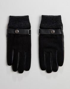 Черные кожаные перчатки с цигейкой Peter Werth - Черный