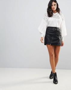 Мини-юбка с асимметричной молнией Free People - Белый