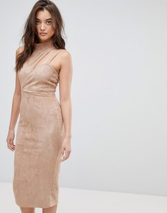 Асимметричное замшевое платье миди с вырезом ASOS - Коричневый