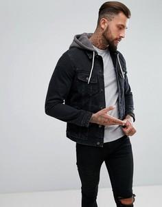 Черная джинсовая куртка с трикотажным капюшоном ASOS - Черный