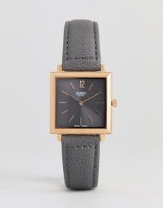 Серые часы с квадратным циферблатом и кожаным ремешком Henry London - 26 мм - Розовый