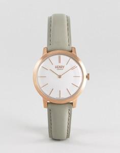 Часы с серым кожаным ремешком Henry London 34 мм - Серый