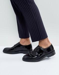 Черные кожаные монки на ребристой подошве ASOS - Черный