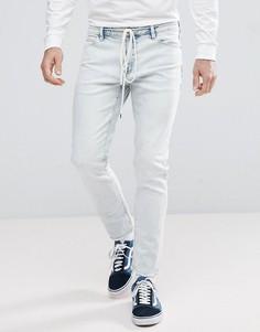 Выбеленные укороченные джинсы скинни с поясом-шнурком ASOS - Синий