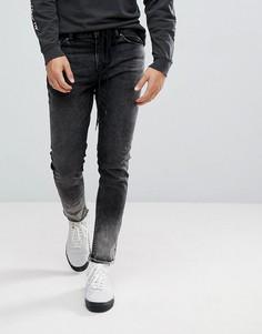 Черные выбеленные джинсы скинни с поясом-шнурком ASOS - Черный