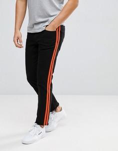 Черные укороченные узкие джинсы стретч с полосками по бокам в стиле ретро ASOS - Черный