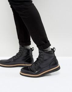 Кожаные ботинки на танкетке со шнуровкой Zign - Черный