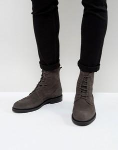 Серые замшевые ботинки на шнуровке Zign - Серый