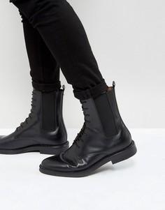 Черные кожаные ботинки со шнуровкой Zign - Черный