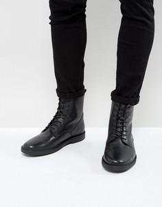 Кожаные ботинки на шнуровке с фетровой подкладкой Zign - Черный