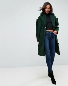 Пальто узкого кроя с эффектными рукавами ASOS - Зеленый