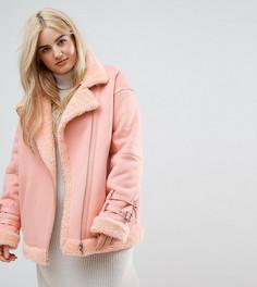 Куртка из искусственной кожи ASOS CURVE - Розовый