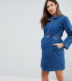 Выбеленное синее джинсовое платье-рубашка с эластичным поясом ASOS MATERNITY - Синий