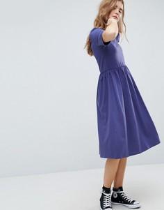 Хлопковое свободное платье миди ASOS - Темно-синий