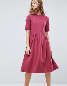 Хлопковое свободное платье миди ASOS - Красный
