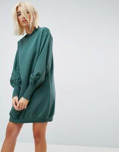 Свободное трикотажное платье ASOS - Зеленый