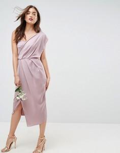Платье-футляр миди на одно плечо ASOS WEDDING - Розовый