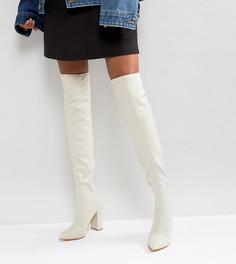 Ботфорты на каблуке с острым носком Missguided - Бежевый