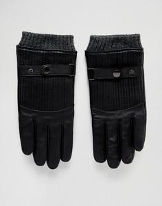 Стеганые кожаные перчатки Boardmans - Черный