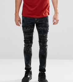 Черные байкерские джинсы скинни Liquor N Poker - Черный