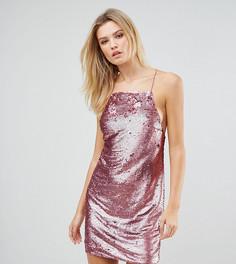 Платье мини на бретельках с отделкой пайетками ASOS TALL - Розовый