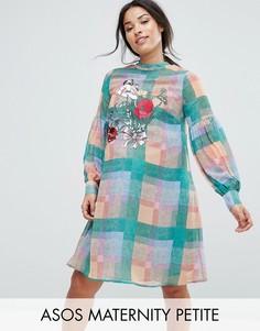 Платье в клетку с вышивкой ASOS Maternity PETITE - Мульти