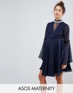 Платье мини с расклешенными рукавами ASOS Maternity - Темно-синий
