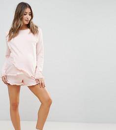 Трикотажный свитшот и шорты с рюшами ASOS Maternity NURSING - Розовый