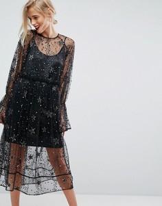 Свободное платье миди из тюля с отделкой звездочками ASOS - Мульти