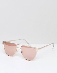 Круглые металлические солнцезащитные очки-маска с плоским верхом ASOS - Золотой