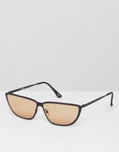 Солнцезащитные очки кошачий глаз в стиле 80-х с металлической оправой и светло-коричневыми стеклами ASOS - Черный