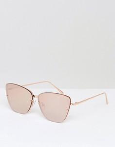 Золотисто-розовые солнцезащитные очки кошачий глаз с накладными линзами ASOS - Золотой