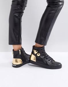 Высокие кроссовки с золотистыми сердцами Love Moschino - Черный