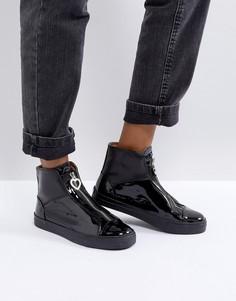 Лакированные ботинки на молнии Love Moschino - Черный