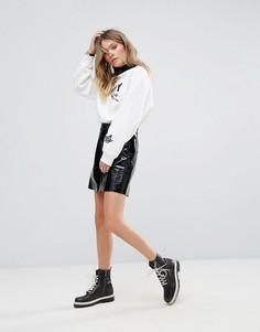 Лакированная кожаная юбка Tommy Hilfiger - Черный