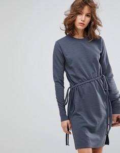 Платье с длинными рукавами и завязками Lost Ink - Серый