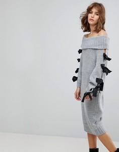 Платье-джемпер с открытыми плечами и завязками на рукавах Lost Ink - Серый