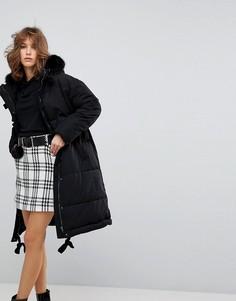Дутая oversize-куртка с искусственным мехом на капюшоне Lost Ink - Черный