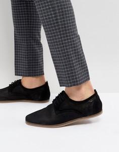 Черные замшевые туфли на шнуровке с перфорацией Pier One - Черный