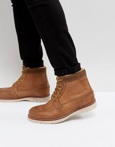 Светло-коричневые кожаные ботинки на теплой подкладке Pier One - Рыжий