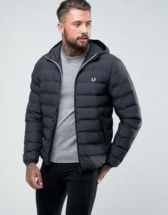 Черная стеганая дутая куртка с капюшоном Fred Perry Brentham - Темно-синий