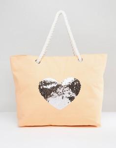 Выбеленная хлопковая пляжная сумка с пайетками South Beach - Розовый