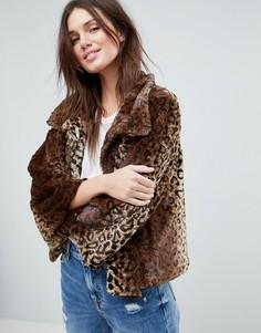 Куртка с леопардовым принтом и искусственным мехом Jayley - Мульти