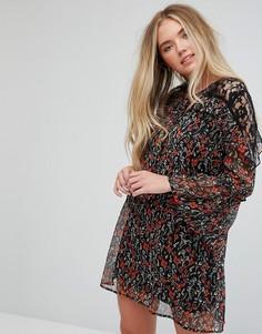 Платье с цветочным принтом и кружевными вставками Influence - Мульти