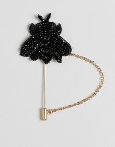 Булавка на лацкан с декорированной пчелой Devils Advocate - Черный
