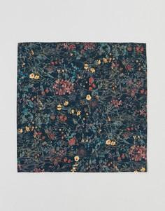 Платок для пиджака с цветочным принтом Gianni Feraud - Темно-синий